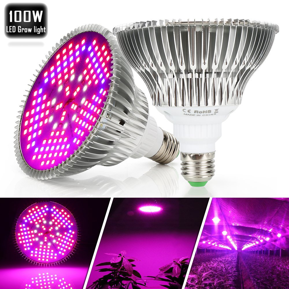 100W Led Grow Light Bulbs Full Spectrum, 150 LEDs indoor plant growing lights Lamp