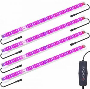 Derlights Plant Light Full Spectrum, 48W Auto On&Off Grow Light Strips for Indoor Plants with 192 LEDs 6 Dimmable Brightness