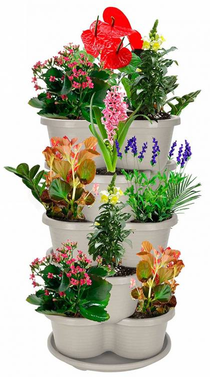 Amazing Creation Stackable Planter Vertical Garden for Growing Strawberries, Herbs, Flowers, Vegetables and Succulents