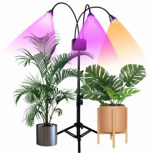 Floor Grow Lights with Stand,Full Spectrum Tri-Head 66 LEDs Plant Light for Indoor Plants