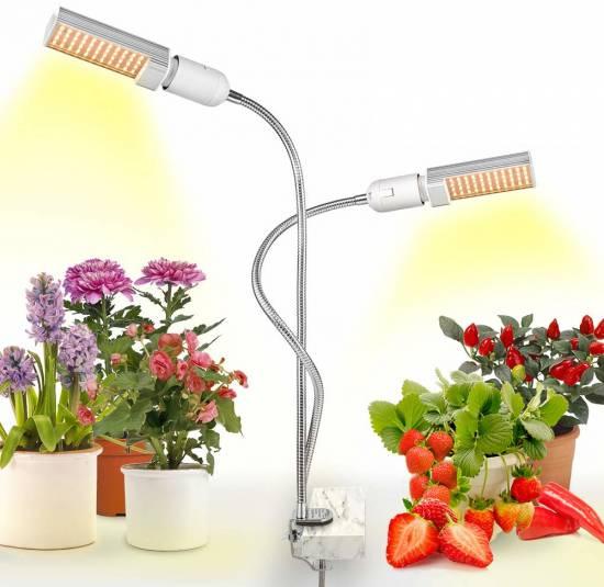 LED Grow Light for Indoor Plant, Relassy 15000Lux Sunlike Full Spectrum Grow Lamp, Dual Head Gooseneck