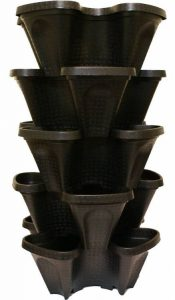 Mr Stacky Large 5 Tier Vertical Garden Tower - 5 Black Stackable Indoor