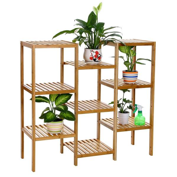 SONGMICS Bamboo Customizable Plant Stand Shelf Flower Pots Holder Display Rack Utility Shelf Bathroom Rack