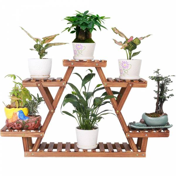 COOGOU Wood Plant Stand Indoor Outdoor 6 Tiered Corner Plant Shelf Holder Window Flower Rack