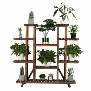 Yaheetech Plant Stand Shelf Indoor - 6 Tier Tiered Wood Plant Flower Pots Shelves Rack Holder Stand