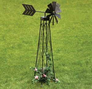 Bits and Pieces - 4' Windmill Wind Spinner - 48 Weather-Resistant Obelisk Made of Powder-Coated Steel