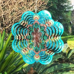 FONMY Stainless Steel Wind Spinner-3D Laser Cut Hand Painted with Color Sparkling Powders Indoor Outdoor Garden Decoration