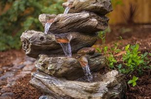 Harmony Fountains Meadow Log Fountain - Cascading Waterfall Garden Fountain with LED Lights