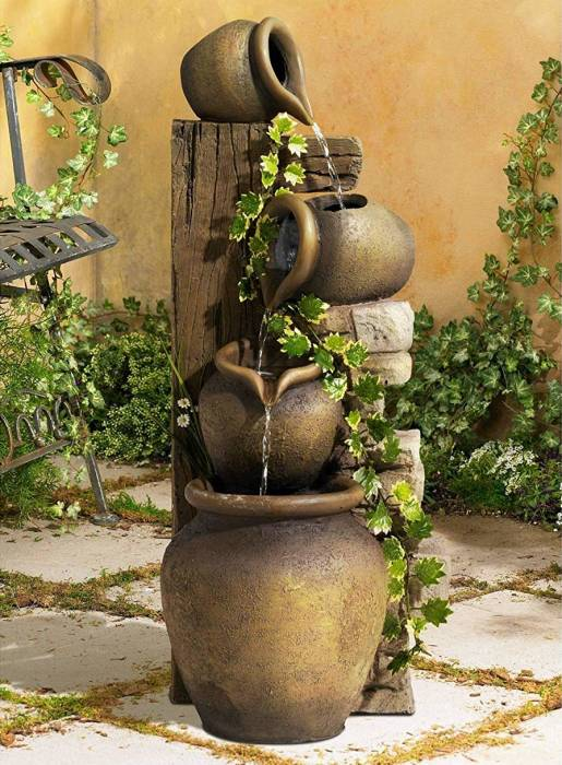 John Timberland Rustic Floor Water Fountain Three Jugs Cascading 33 High Indoor Outdoor for Yard Garden Lawn