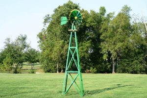 Outdoor Water Solutions BYW0129 Large Green and Yellow Powder Coated Backyard Windmill