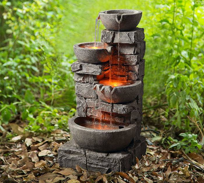 Peaktop 201601PT Outdoor Garden Water Stacked 3 Tier Bowls Waterfall Fountain with LED Light, 33 Height, Stone Grey