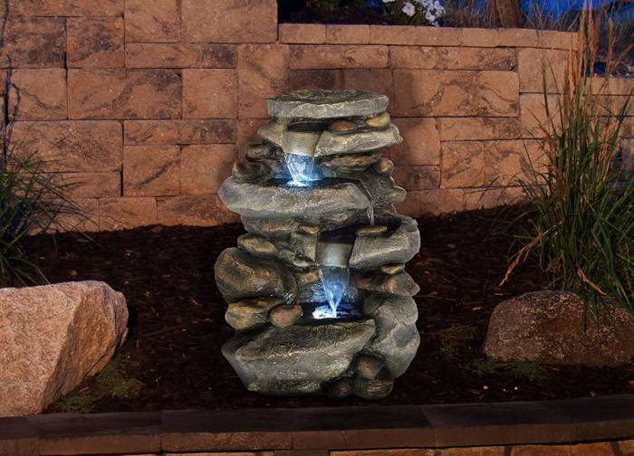 Pure garden Outdoor Water Fountain With LED Lights, Lighted Cascade Waterfall