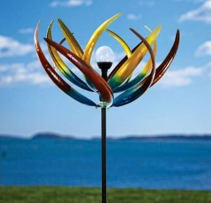 Bits and Pieces The Original Solar Multi-Color Tulip Wind Spinner-Solar Powered Glass Ball Emits Color-Changing Ligh