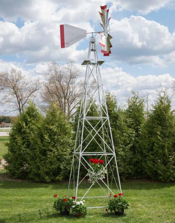 Windguard 18 Ft Made in the USA Premium Aluminum Decorative Garden Windmill-green Trim