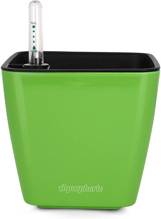 "Aquaphoric Self Watering Planter (5"") + Fiber Soil = Foolproof Indoor Home Garden"