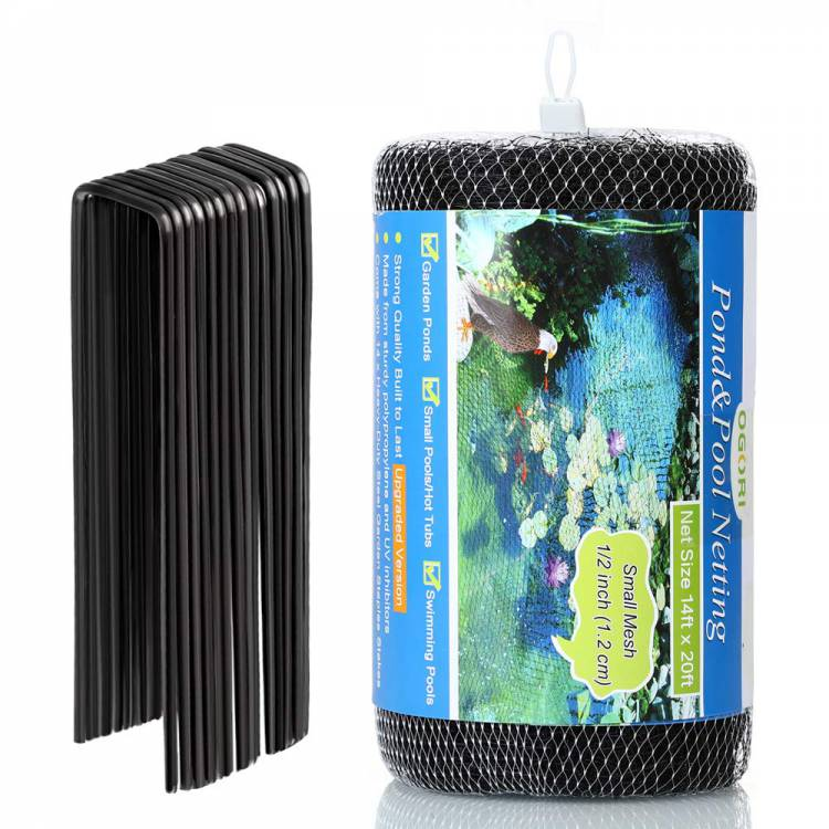 OGORI 14 x 20 ft Pond Netting Bird Netting with 14 Heavy-Duty Steel Garden Staples Stakes