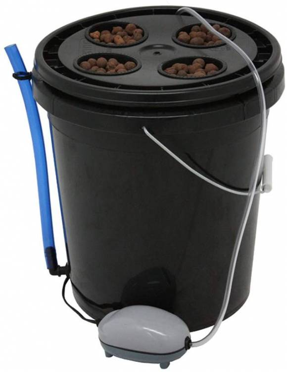 Viagrow 4 Site Hydroponic Deep Water Culture Vegetative System, Black