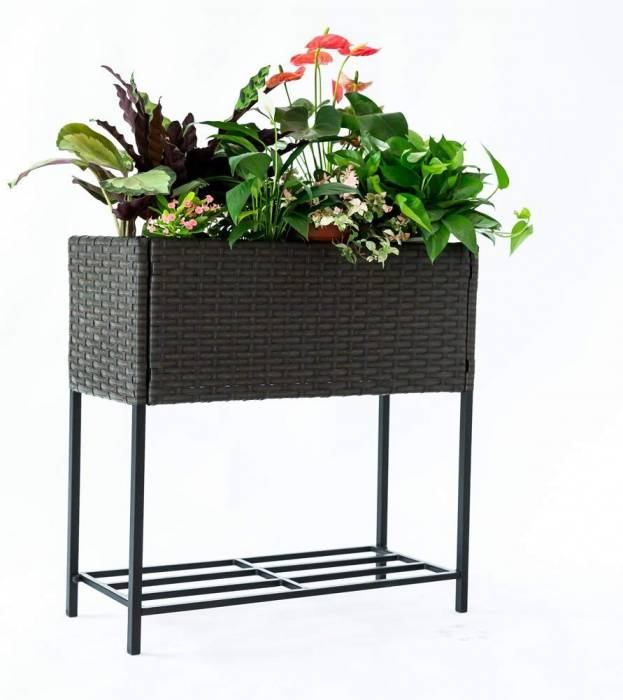 C Hopetree 2 Tier Indoor Outdoor Raised Plant Stand Hand Woven Wicker