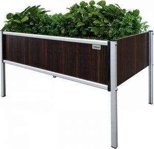 Foreman Garden Bed Planter Box Kit 36Lx24Wx25H Premium HPL Plastic Wood Grain Anodized Aluminum Outdoor Indoor