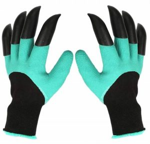 HAODE FASHION 2 Pairs Garden Genie Gloves with Fingertips Claws for weeding
