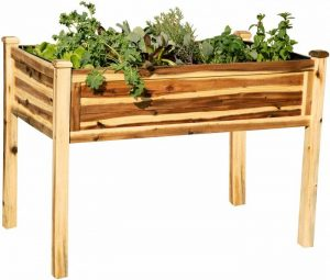 Thirteen Chefs Villa Acacia Raised Garden Bed, 42 x 24 Inch Solid Wood, 30 Inches Tall