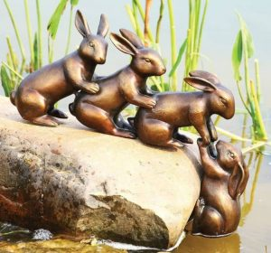 Ebros Team Work Bunny Rabbit Friends With Helping Hands Statue koi Pond decoration