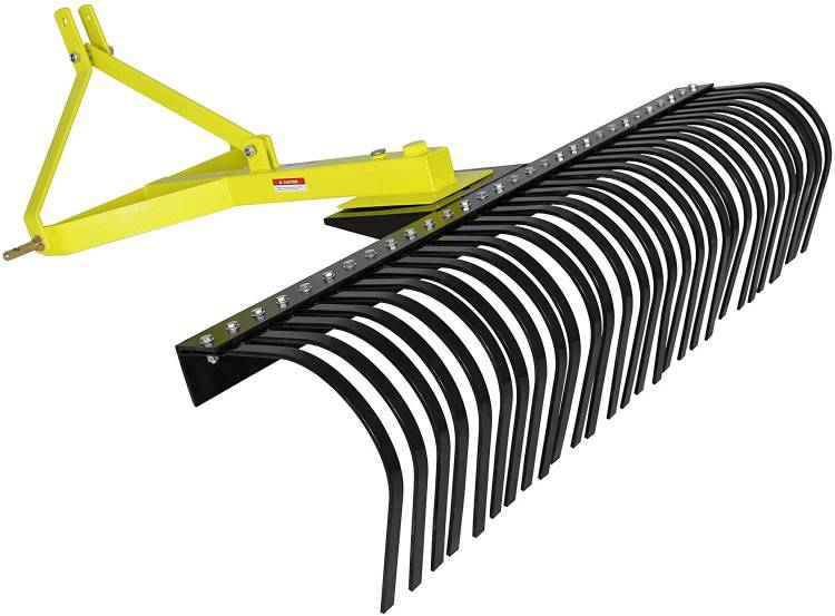 Titan Attachments 4' Landscape Rake for Compact Tractors, Tow Behind Garden Tool